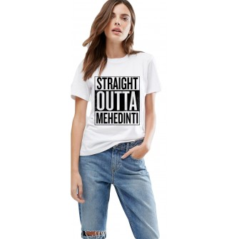 Tricou dama alb -  Straight Outta Mehedinti