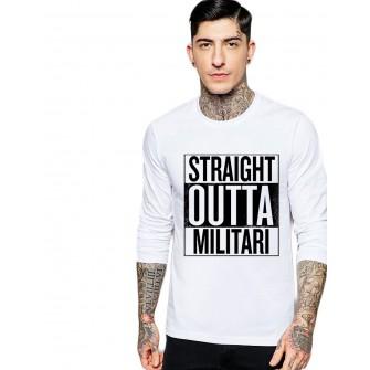 Bluza barbati alba - Straight Outta Militari