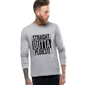 Bluza barbati gri cu text negru - Straight Outta Ploiesti