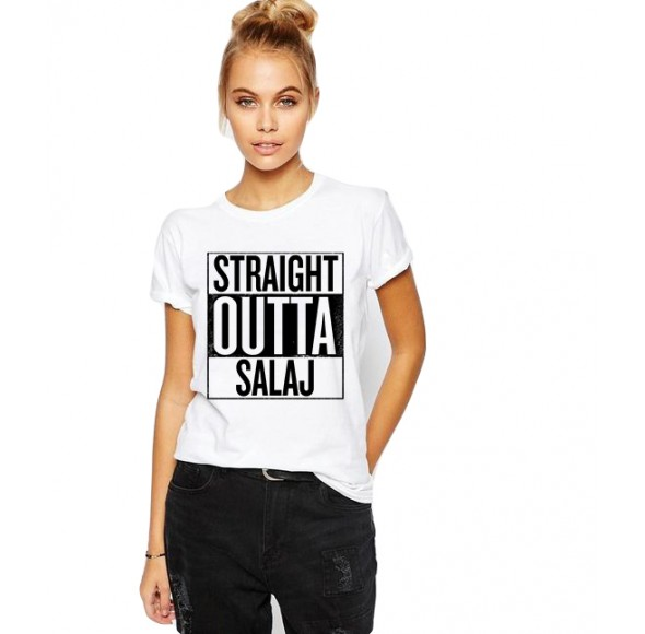 Tricou dama alb -  Straight Outta Salaj
