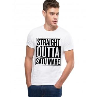 Tricou alb barbati - Straight Outta Satu Mare