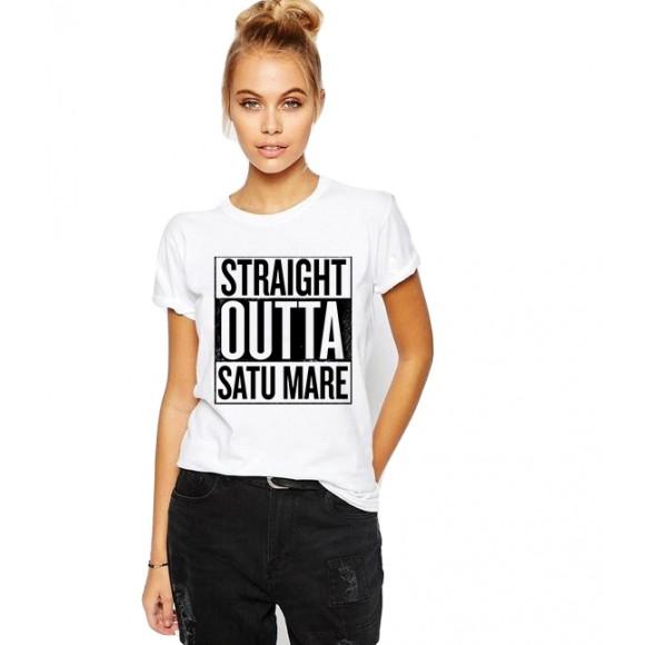 Tricou dama alb -  Straight Outta Satu Mare