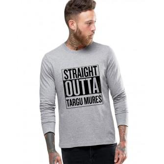 Bluza barbati gri cu text negru - Straight Outta Targu Mures