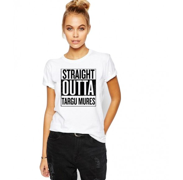 Tricou dama alb -  Straight Outta Targu Mures