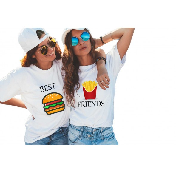 Set doua tricouri dama albe - Best Friends
