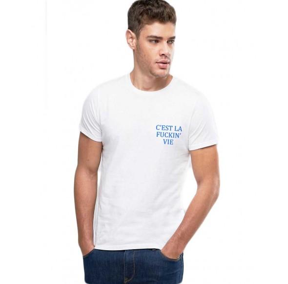 Tricou barbati alb - C'est la vie
