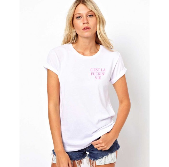 Tricou dama alb - C'est la vie