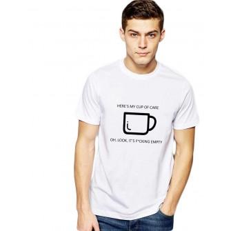Tricou barbati alb - Cup of care