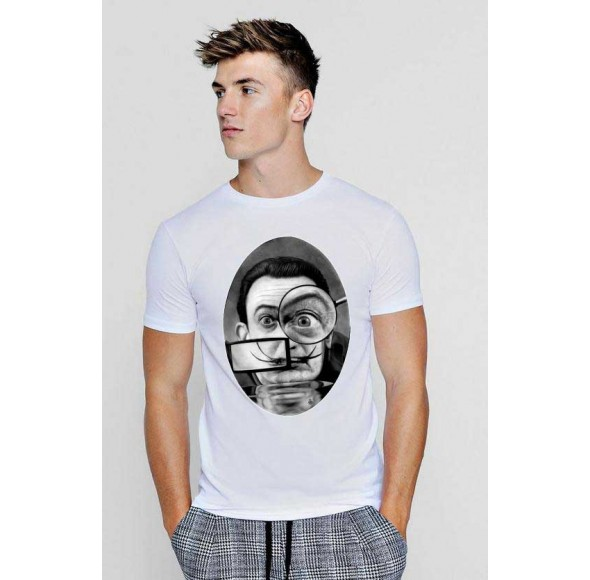 Tricou barbati alb - Dali - The Watcher