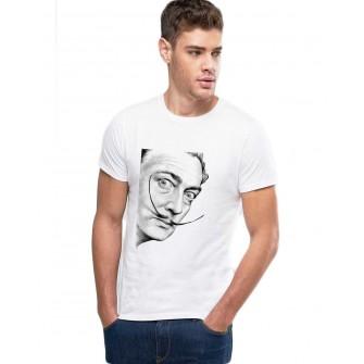 Tricou barbati alb - Dali - Portret