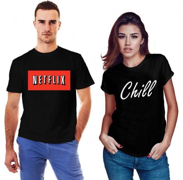 Set doua tricouri negre pentru cupluri - Netflix & Chill