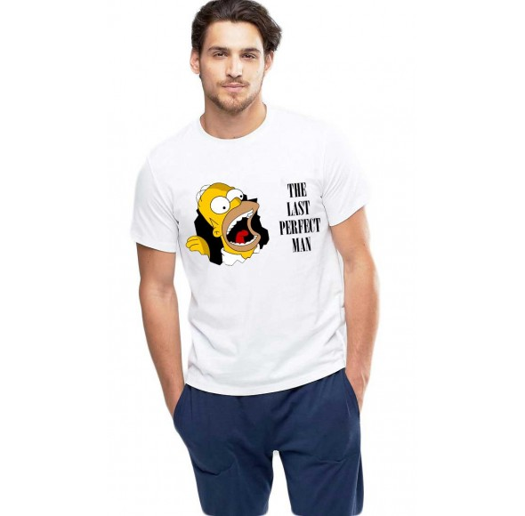 Tricou barbati alb - Simpson