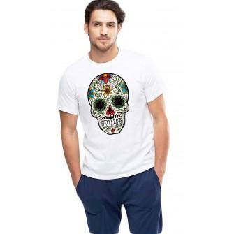 Tricou barbati alb - Sugar Skull Colorful