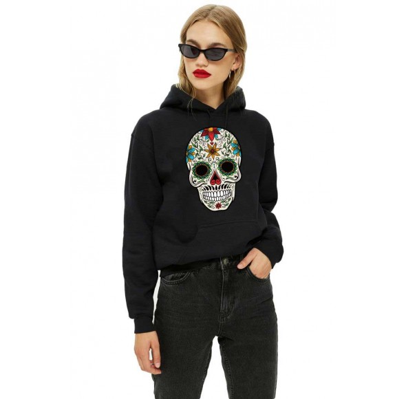 Hanorac dama negru - Sugar Skull Colorful