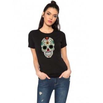 Tricou dama negru - Sugar Skull Colorful