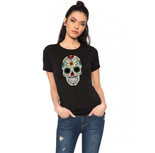 Tricou dama negru - Sugar Skull Colorful