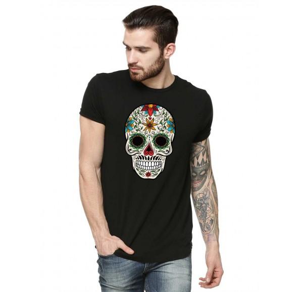 Tricou barbati negru - Sugar Skull Colorful