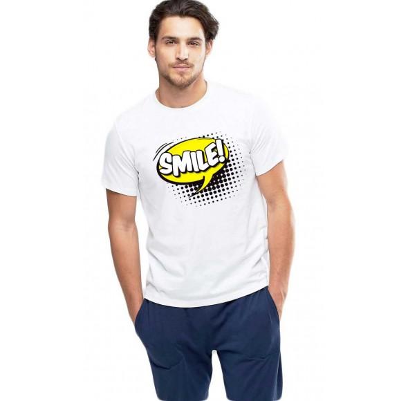 Tricou barbati alb - Smile
