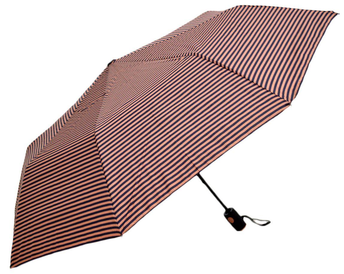 Umbrela Unisex pliabila, automata, buton deschidere, dungi negre-maro, 110cm diametru, articulatii anti-vant