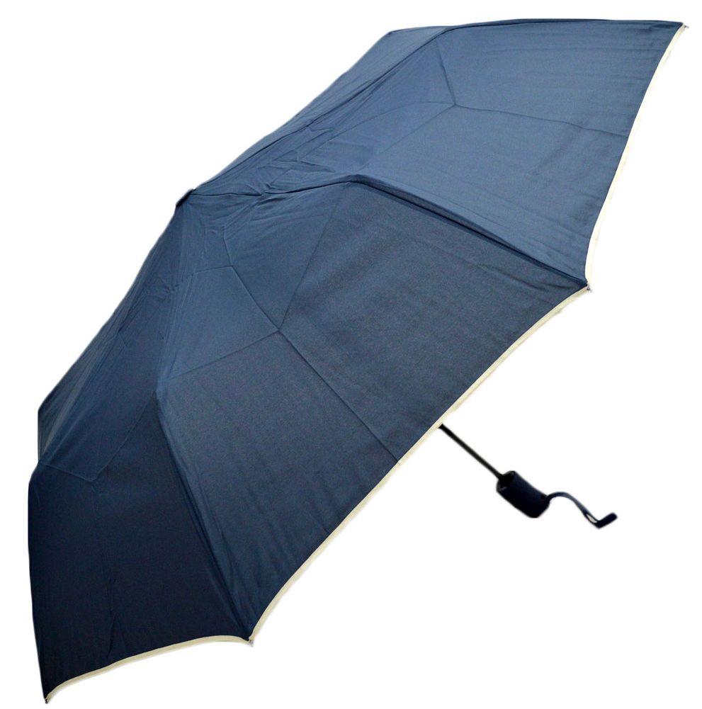 Umbrela Unisex pliabila, automata, buton deschidere, bleumarin cu margini bej, 110cm diametru, articulatii anti-vant