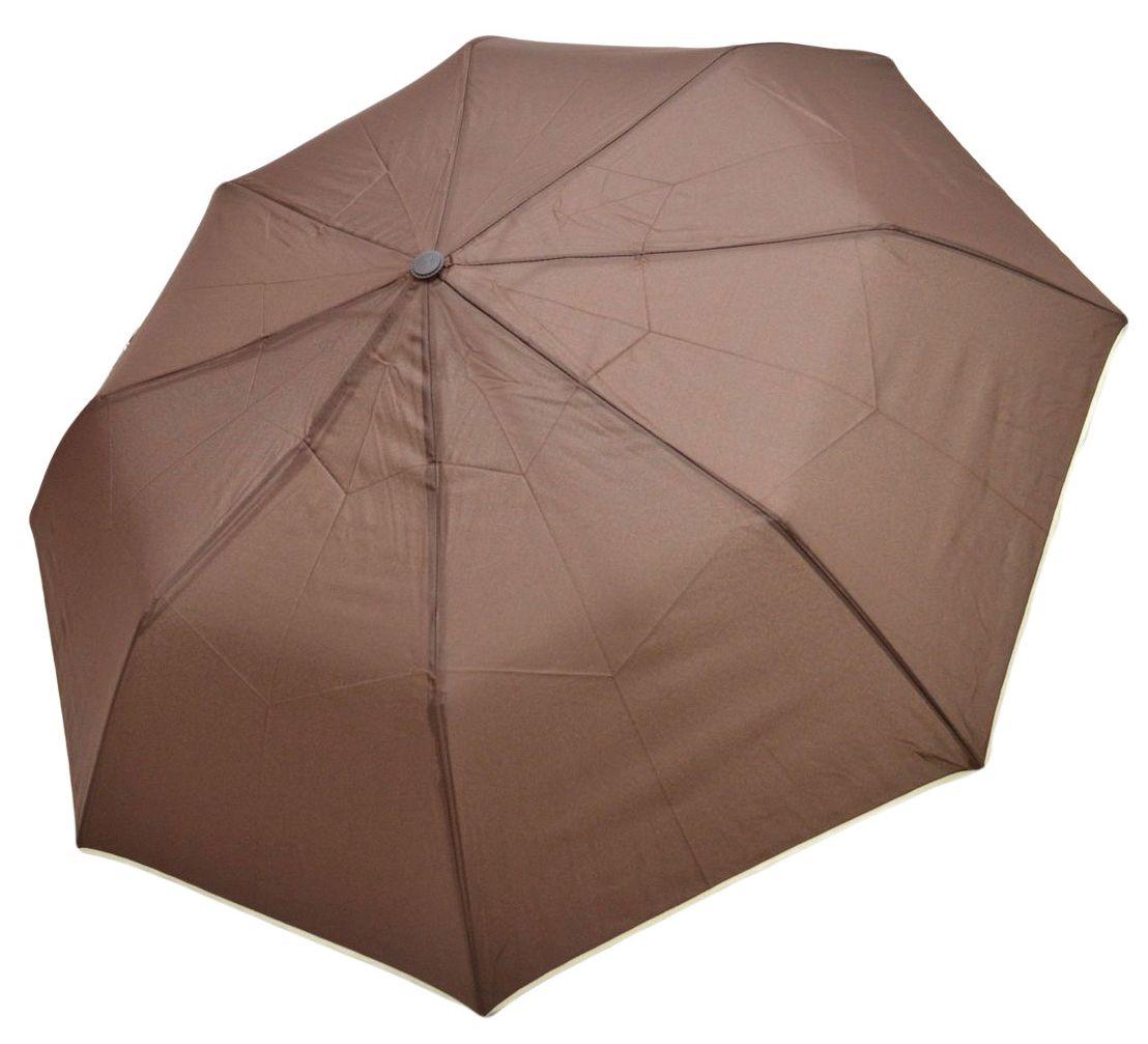 Umbrela Unisex pliabila, automata, buton deschidere, maro cu margini bej, 110cm diametru, articulatii anti-vant